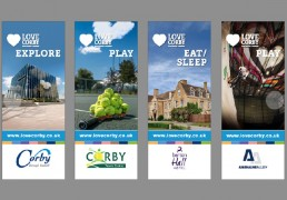 A series of lamp post banners that S.C. Agency designed for local businesses in Corby that are members of Love Corby. These show four of the members that sponsored a banner. The banners were displayed in Corporation Way, Corby